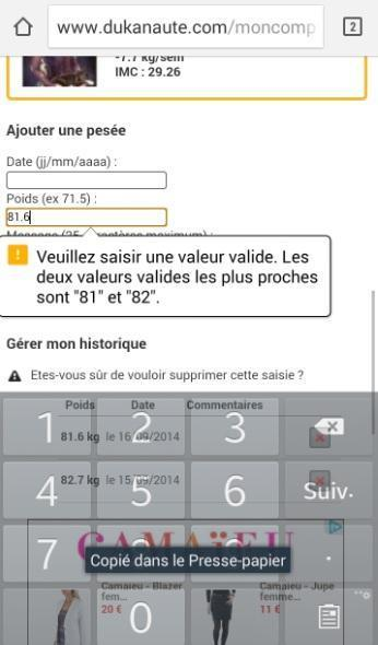 Forum Dukan : mon smartphone ne me propose que le point s