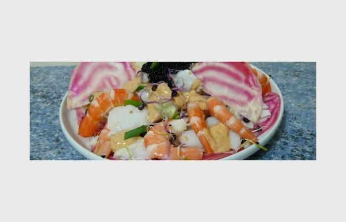 salade de cabillaud et crevettes sur carpaccio de betterave chioggia recette dukan pl par ktia. Black Bedroom Furniture Sets. Home Design Ideas