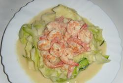 Photo Dukan Tagliatelles de courgettes, colin, crevettes,  sauce moutarde, citron, fines herbes