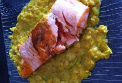 Photo Dukan Pavé de saumon poireaux curry