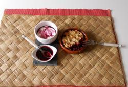 Photo Dukan Crumble aux fruits rouges et fromage blanc au coulis